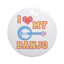 I Love My Banjo Ornament (Round)