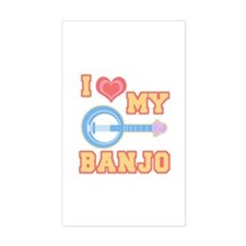 I Love My Banjo Rectangle Decal