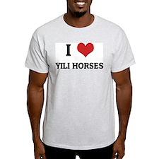 I Love Yili Horses Ash Grey T-Shirt