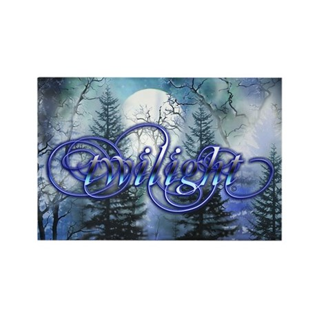 Moonlight Twilight Forest Rectangle Magnet