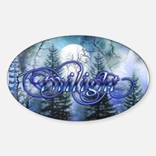 Moonlight Twilight Forest Oval Bumper Stickers