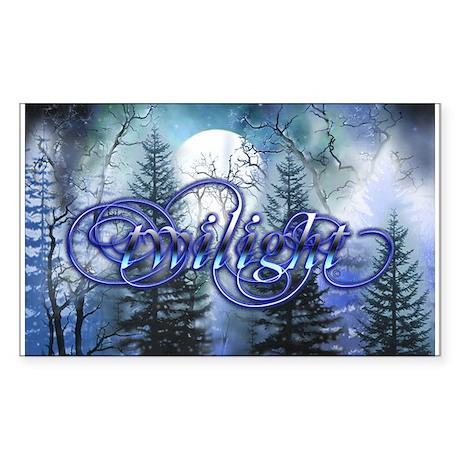 Moonlight Twilight Forest Rectangle Sticker