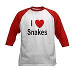 I Love Snakes (Front) Kids Baseball Jersey