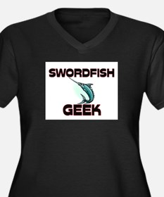Swordfish Geek Women's Plus Size V-Neck Dark T-Shi