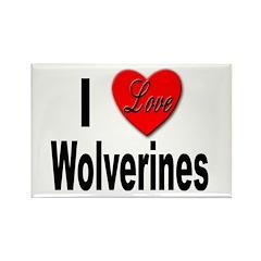 I Love Wolverines Rectangle Magnet