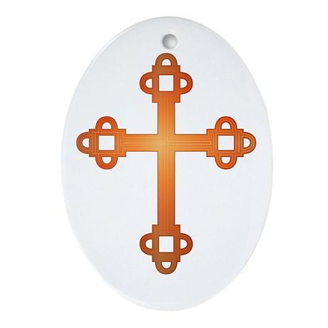 Labyrinth Cross Oval Ornament