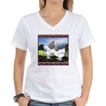 Framed Brahma Chickens Women's V-Neck T-Shirt