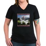 Framed Brahma Chickens Women's V-Neck Dark T-Shirt