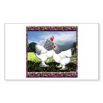 Framed Brahma Chickens Rectangle Sticker