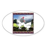 Framed Brahma Chickens Oval Sticker (10 pk)