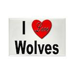 I Love Wolves Rectangle Magnet (10 pack)