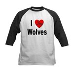 I Love Wolves Kids Baseball Jersey