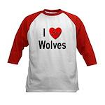 I Love Wolves (Front) Kids Baseball Jersey