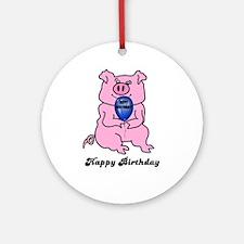 HAPPY BIRTHDAY PIGGY CERAMIC Ornament (Round)