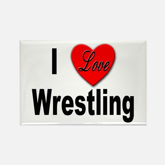 I Love Wrestling Rectangle Magnet (10 pack)