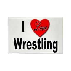 I Love Wrestling Rectangle Magnet