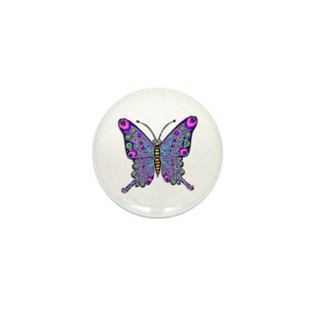 Funky Purple Butterfly Mini Button (10 pack)