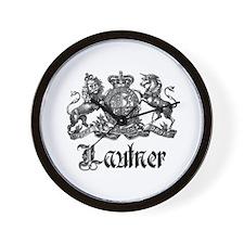 Lautner Vintage Family Name Crest Wall Clock