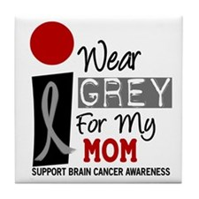 I Wear Grey For My Mom 9 Tile Coaster
