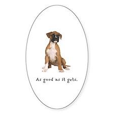 Good Boxer Puppy Oval Sticker