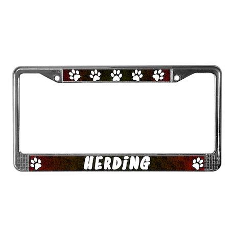 Paw Print Herding License Plate Frame (Red)