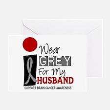I Wear Grey For My Husband 9 Greeting Card