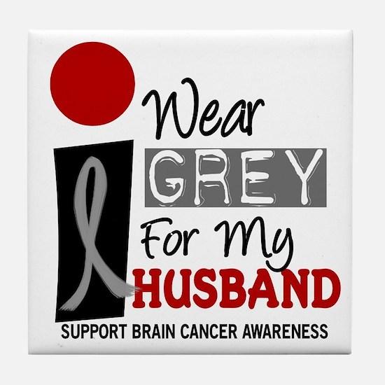 I Wear Grey For My Husband 9 Tile Coaster