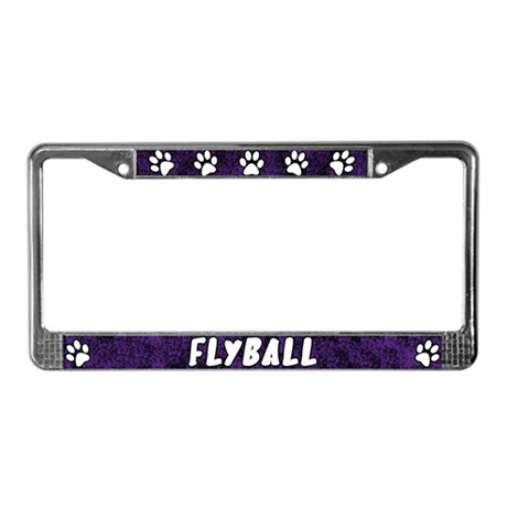 Paw Print Flyball License Plate Frame (Purple)