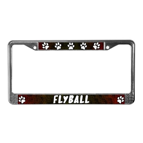 Paw Print Flyball License Plate Frame (Red)