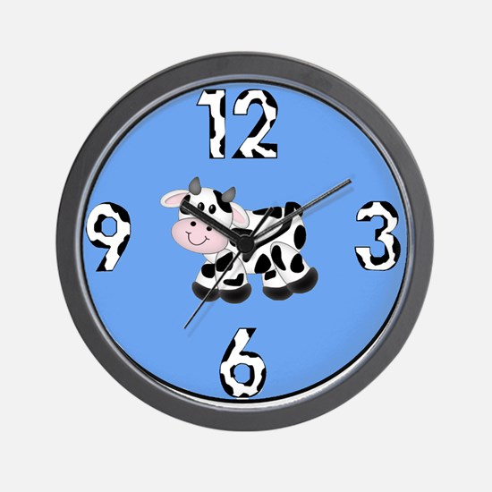 Baby Cow with Blue Background Clock