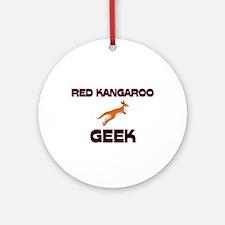 Red Kangaroo Geek Ornament (Round)