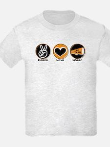 Peace Love Cheer BkOr T-Shirt