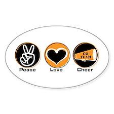 Peace Love Cheer BkOr Oval Decal