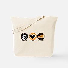 Peace Love Cheer BkOr Tote Bag