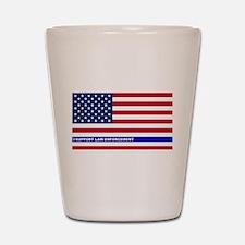 I support Law Enforcement American Flag Shot Glass