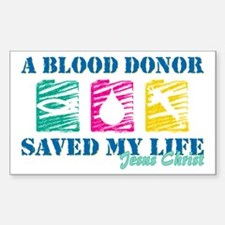Blood donor saved cl Rectangle Decal