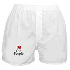 """""""I Love (Heart) Old People"""" Boxer Shorts"""