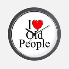 """I Love (Heart) Old People"" Wall Clock"