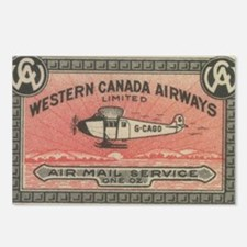 Western Canada Airways label Postcards (Package of