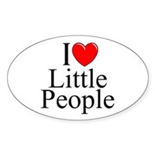 """I Love (Heart) Little People"" Oval Decal"