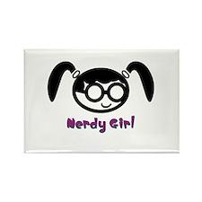 Nerdy Girl Rectangle Magnet