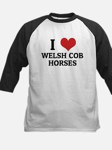 I Love Welsh Cob Horses Kids Baseball Jersey