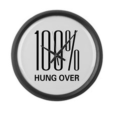100% Hung Over Large Wall Clock