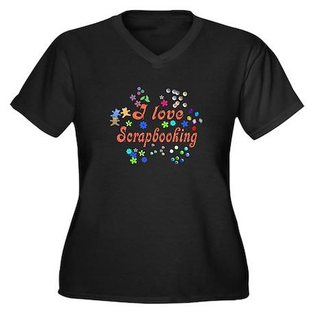 Scrapbooking Women's Plus Size V-Neck Dark T-Shirt