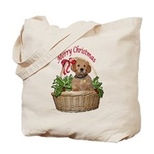 puppy in holly basket Tote Bag