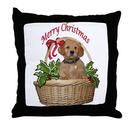 puppy in holly basket Throw Pillow