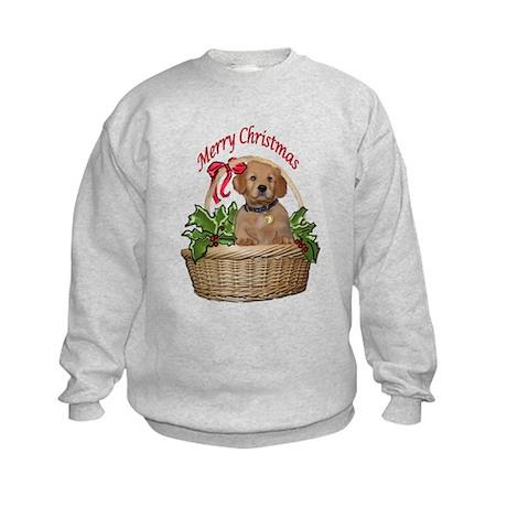 puppy in holly basket Kids Sweatshirt