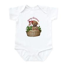 puppy in holly basket Infant Bodysuit