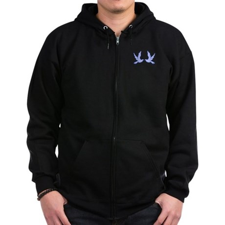 """Bluebirds of Happiness"" Zip Hoodie (dark)"