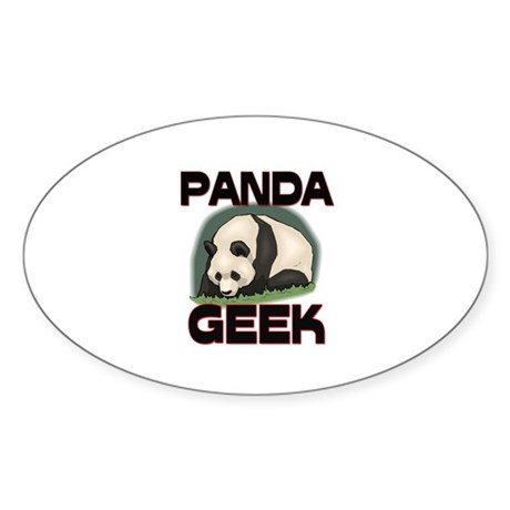 Panda Geek Oval Sticker